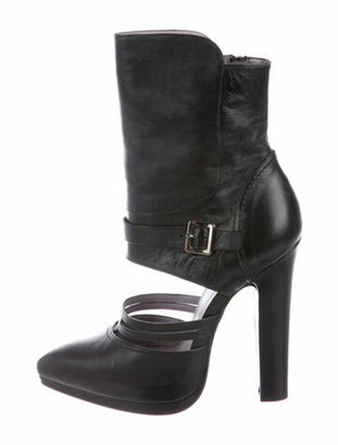Versace Leather Cutout Accent Boots Black
