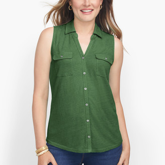 Talbots Soft Button Front Top