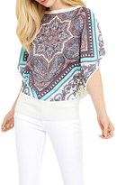 Oasis Scarf Placement Woven Knit Top, Off White/Multi