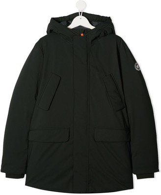 Save The Duck Kids TEEN sleeve-patch hooded jacket