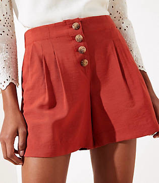 LOFT Petite Button Front Shorts