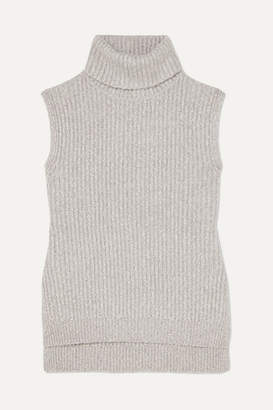 See by Chloe Melange Ribbed-knit Turtleneck Sweater - Gray