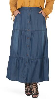 Standards & Practices Denim Maxi Peasant Skirt
