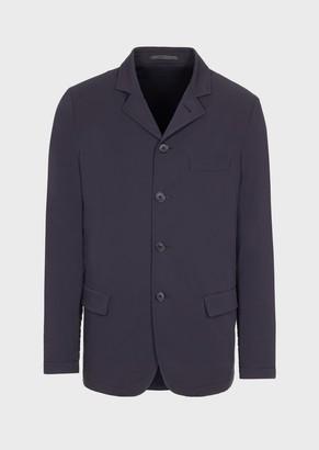 Giorgio Armani Single-Breasted Jacket In High-Performance, Garment-Tumbled Canvas