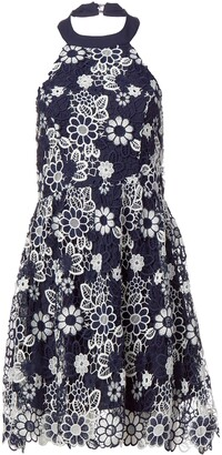 J.o.a. Women's Flower Lace Halter Neck Dress