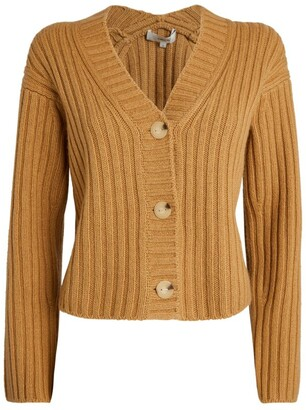Vince Wool-Cashmere Ribbed Cardigan