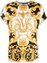 Versace Virtus baroque print silk blouse