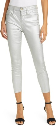 Frame Ali Metallic High Rise Ankle Crop Skinny Jeans