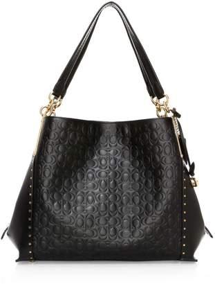 Coach Rivets Signature Leather Hobo Bag