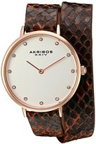 Akribos XXIV Women's Quartz Rose-Tone Case with Silver Dial and Swarovski Crystal Hour Markers on Brown Genuine Leather Double Strap Watch AK923RGBR