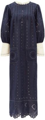 Vita Kin - Charlie Broderie-anglaise Linen Dress - Navy White