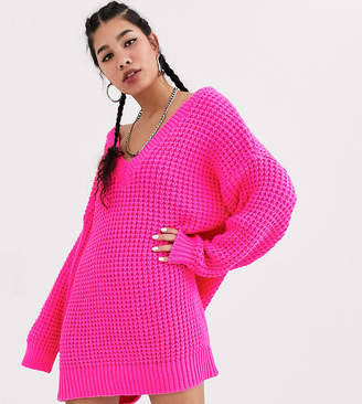 Collusion COLLUSION chunky cable knit v neck sweater dress in pink