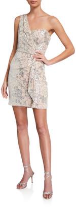 Parker Black Alexiana Metallic One-Shoulder Dress
