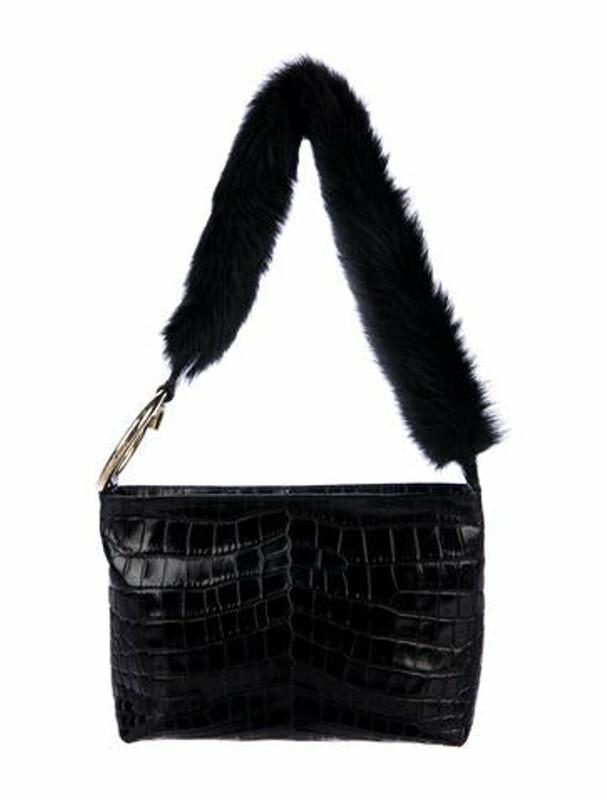Thumbnail for your product : Elizabeth and James Embossed Leather Shoulder Bag Black