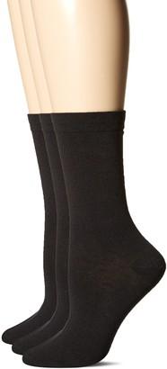 Hue Women's Pique Flat Knit Sock (Pack of 3)