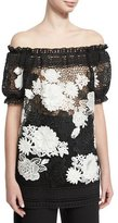 Naeem Khan Two-Tone Off-the-Shoulder Floral Lace Top, Black/White