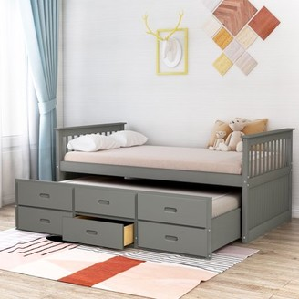 Merax Solid Wood Captain Bed with Trundle and Drawers, Twin, Multiple Colors