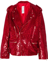 Ashish Sequined Cotton Biker Jacket - Crimson