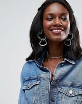 Asos Limited Edition Interlocking Glitter Heart Hoop Earrings