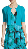 Lela Rose Half-Sleeve Cropped Cardigan, Teal
