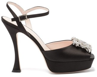 Roger Vivier Bouquet Peep-toe Platform Satin Heels - Black