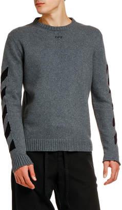 Off-White Off White Men's Arrow Intarsia Knit Raw-Edge Sweater
