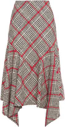 Oscar de la Renta Asymmetric Checked Cotton-blend Tweed Midi Skirt