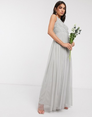 Beauut embellished maxi dress with pleated skirt in light grey