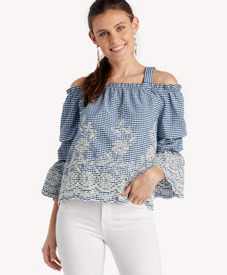 J.o.a. Women's Embroidered Cold Shoulder Top With Tiered Sleeves In Color: Navy Gingham Size XS From Sole Society