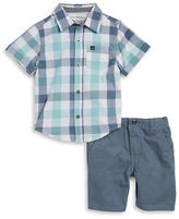 Calvin Klein Jeans Boys 2-7 Boys Two-Piece Plaid Shirt and Shorts Set