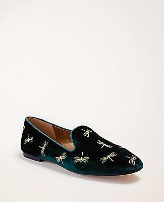 Ann Taylor Blanche Dragonfly Velvet Loafers