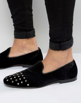 Asos Smart Loafers in Black Velvet With Stud Toe Detail