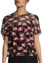 RED Valentino Flamingo-Print Silk Ruffle Blouse