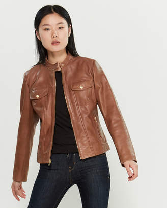 Cole Haan Zip-Front Pocketed Leather Jacket