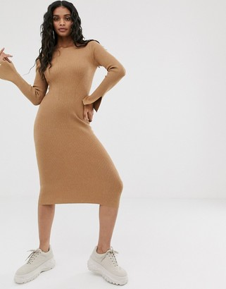 4th + Reckless knitted backless midi dress in camel-Brown