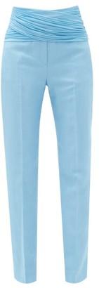 Burberry Chiffon-waist Wool-blend Slim Trousers - Light Blue