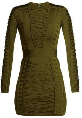 Balmain Lace Up Stretch Knit Mini Dress - Womens - Khaki