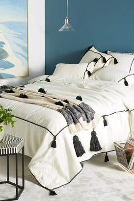 Anthropologie Tasseled Border Duvet