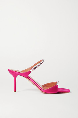 Aquazzura Diamante 75 Crystal-embellished Satin Mules - Fuchsia