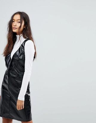 Vila vinyl midi shift dress in black