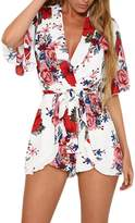 Fashion Story Womens Boho Style Beach Casual 3/4 Sleeves Jumpsuit Rompers Playsuit Outfit US 0-38