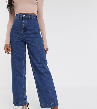 Asos Tall ASOS DESIGN Tall High rise 'easy' wide leg jeans in mid wash blue