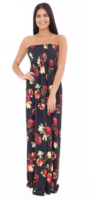 Generic Womens Ladies Flower Printed Strapless Bandeau Sharing Sleeveless Floral Maxi Dress Plus Sizes (XL (16-18)