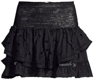 Ramy Brook Arius Crochet Tiered Silk-Blend Skirt