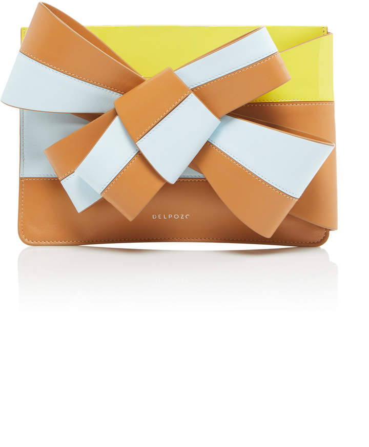 DELPOZO Large Bow-Detailed Color-Block Leather Cutch