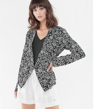 Le Temps Des Cerises Floral Print Shawl-Collar Jacket