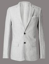 Autograph Grey Pure Linen Slim Fit Jacket