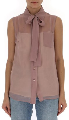 Prada Sleeveless Bow Collar Blouse