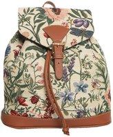 Handbag Queen Signare Women's Rucksack Backpack Tapestry Morning Garden Beige And