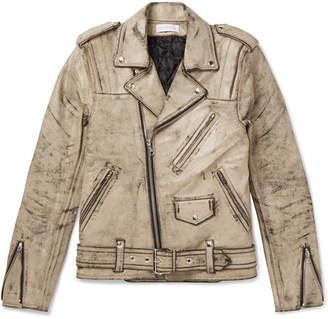 John Elliott + Blackmeans Distressed Leather Biker Jacket